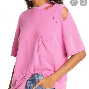 Free People Rubi Ripped Pocket T- Shirt